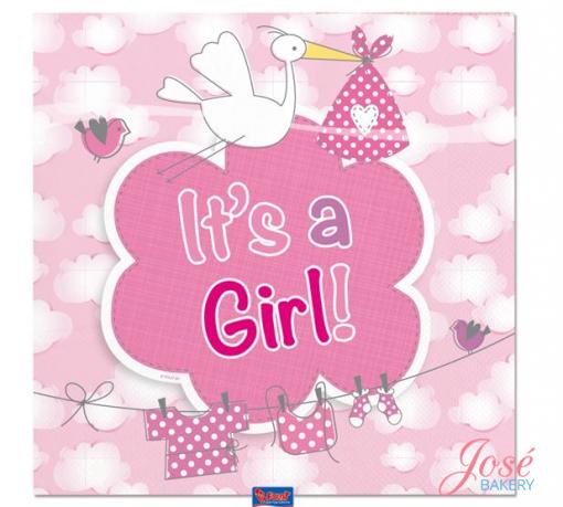 geboorte servetten meisje It's a girl Jose bakery