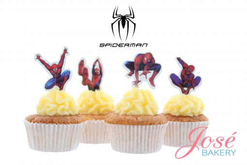 Spiderman cupcake prikkers Jose bakery