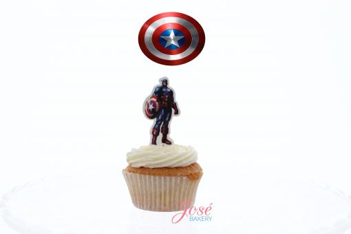 Captain America cupcake toppes Jose bakery