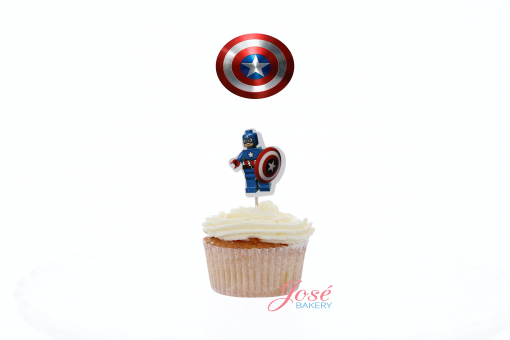 Captain America logo cupcake toppers