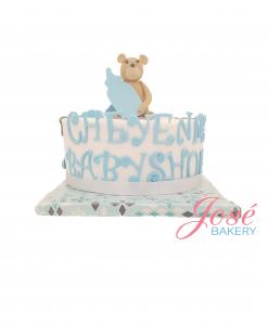 Babyshower taart met beertje 9 personen bestellen