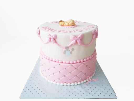 Babyshower taart met parels en strikjes 30 p