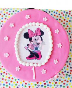 Minnie Mouse foto fondant taart 10 personen