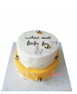 Bijen gender reveal taart 15 personen