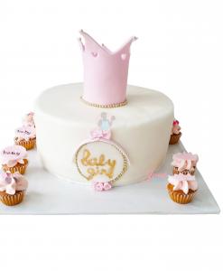 Babyshower taart kroon met mini cupcakes 12 personen