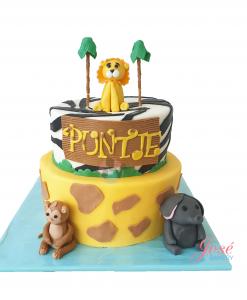 Jungle babyshower taart 15 personen