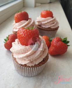 Chocola aardbei cupcakes